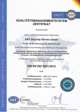 DIN ISO9001 Sicherheitsdienst